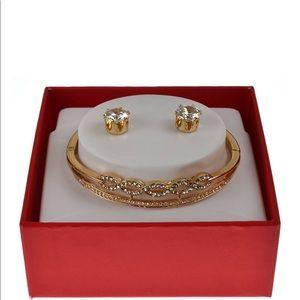 Infinity Bracelet and Cubic Zirconium Earrings Set